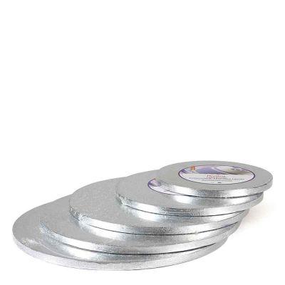 Cakeboard Vassoio Sottotorta rotondo rivestito argento h 1,2 cm diamentri vari