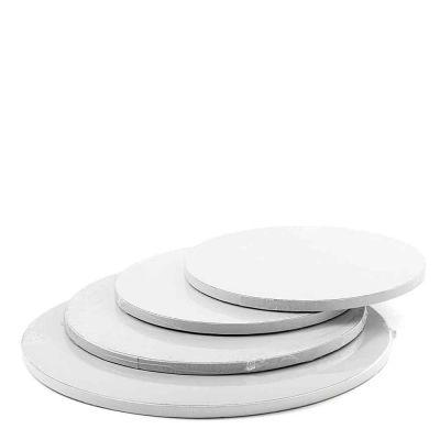 Cakeboard vassoio Sottotorta rotondo rivestito bianco h 1,2 cm varie misure