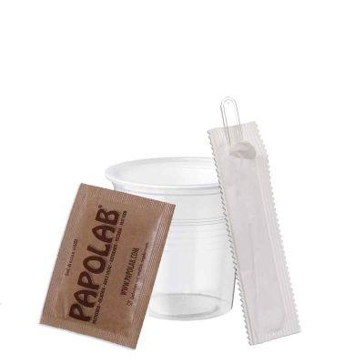 Kit caffè bicchierini trasparenti palette imbustate zucchero canna