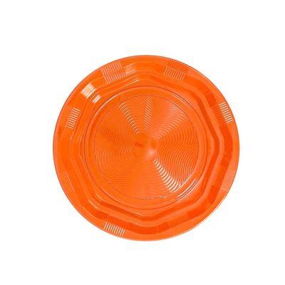 25 Piatti di plastica fondi riutilizzabili e lavabili arancione DOpla Ø22 cm