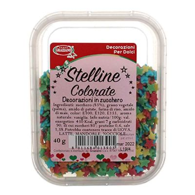 Stelline di zucchero colorato piccole per decorazioni 40 g Graziano