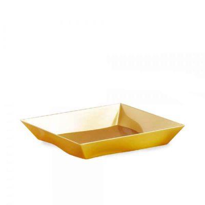 Piatti di plastica rigida quadrati Vanity oro 16x16cm