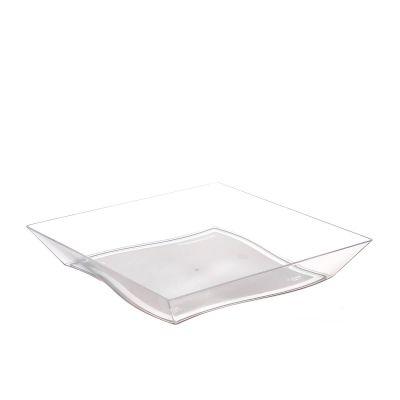 Piatti di plastica rigida quadrati eleganti Vanity 16x16cm - trasparente