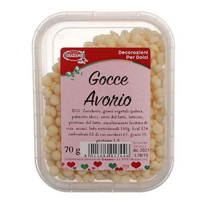 Gocce di cioccolato bianco per decorazione dolci 70 g Graziano