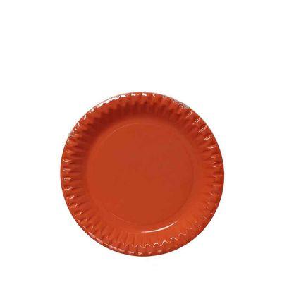 Piattini di carta arancio in cartoncino per feste DOpla Party Ø18 cm