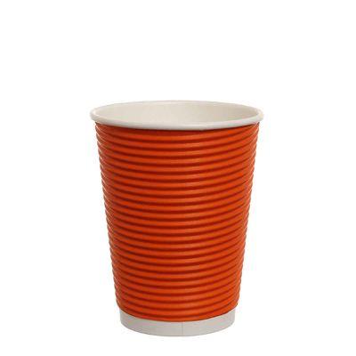 Bicchieri di carta ondulata tripla parete 420ml arancione