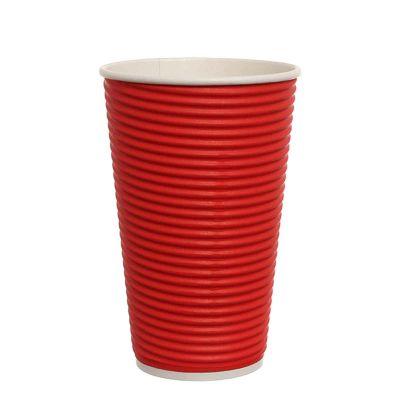 Bicchieri di carta ondulata tripla parete 550ml rosso