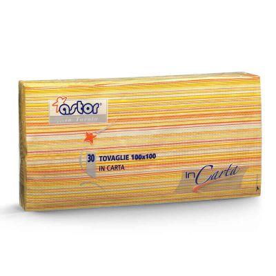 30 Tovaglie di carta 100x100 cm millerighe giallo 255-6MG