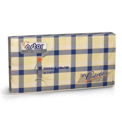 30 Tovaglie di carta 100x100 cm scozzese blu 255-6SB