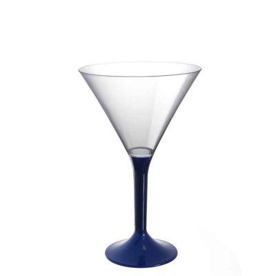 20 Coppe cocktail Martini lavabili blu perlato 185cc