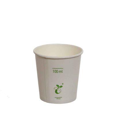 Bicchieri di cartoncino bianco compostabili per caffè 120 ml