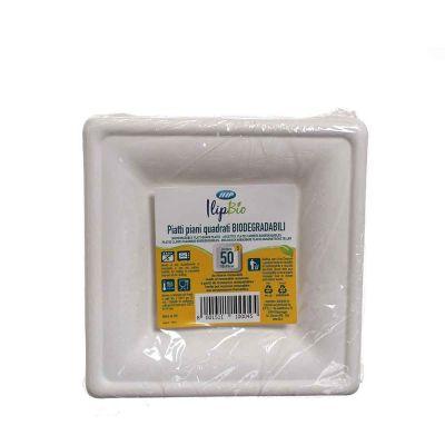 Piatti piccoli quadrati in polpa di cellulosa Ilip BIO 16x16 cm