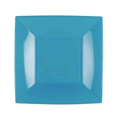Piatti quadrati lavabili per microonde turchesi 23x23 cm