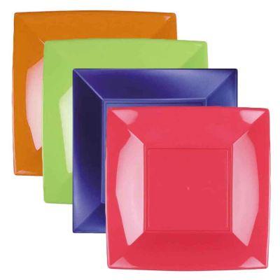 Piatti quadrati lavabili per microonde colorati 23x23 cm