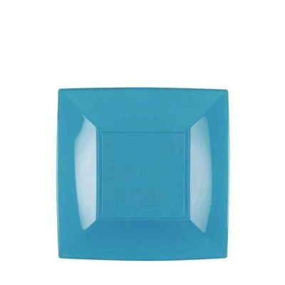 Piatti quadrati piccoli lavabili per microonde turchesi 18x18 cm