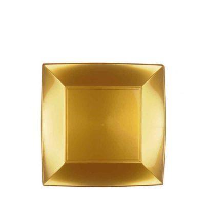 Piatti quadrati piccoli lavabili per microonde oro 18x18 cm