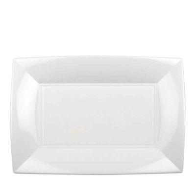 Vassoi rettangolari lavabili da esposizione bianchi 34x23 cm