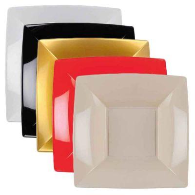 Piatti quadrati fondi lavabili per microonde 18x18 cm colore a scelta