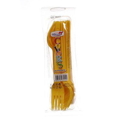 Forchette di plastica colorate DOpla Colors giallo