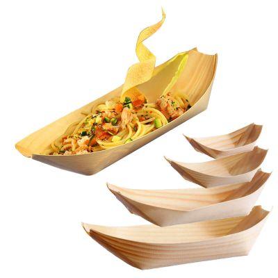 Barchette finger food in legno di foglia di pino