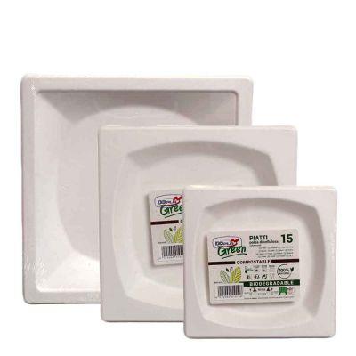 15 Piatti quadrati in polpa di cellulosa DOpla Green compostabili