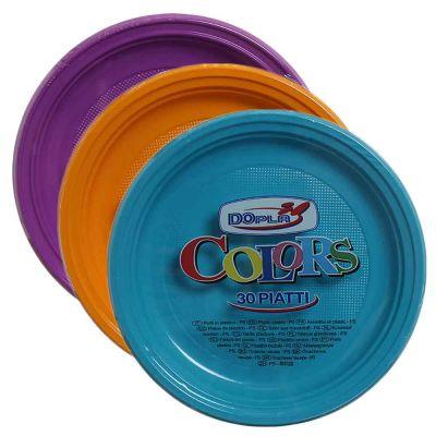 Piatti di plastica piani colorati DOpla Color Ø22 in offerta