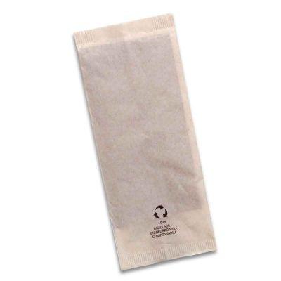 1000 Buste sacchetti portaposate carta riciclata ecru con tovagliolo