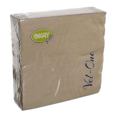 60 Tovaglioli in carta ovatta colorati Velone Okay 40x40 cm tortora