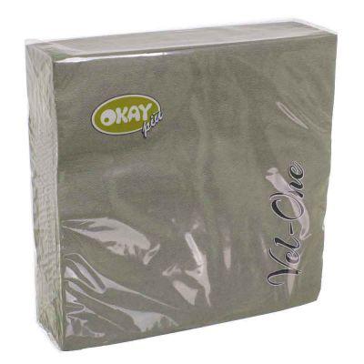 60 Tovaglioli in carta ovatta colorati Velone Okay 40x40 cm grigi stone