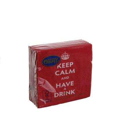 50 Tovaglioli da cocktail in carta 2 veli 25x25 Okay Keep Calm rossi