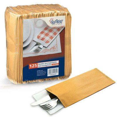 125 Buste sacchetti portaposate in carta paglia con tovagliolo Astor