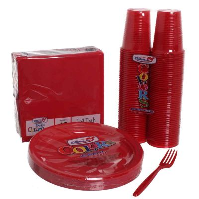 Set completo da tavola in plastica rosso 60 persone