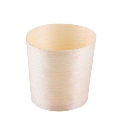 Vaschette bicchierini di legno in foglia di pino h 5,5 x Ø 6 cm